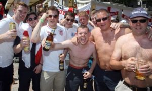 England fans outside the Golden Lion in Donetsk