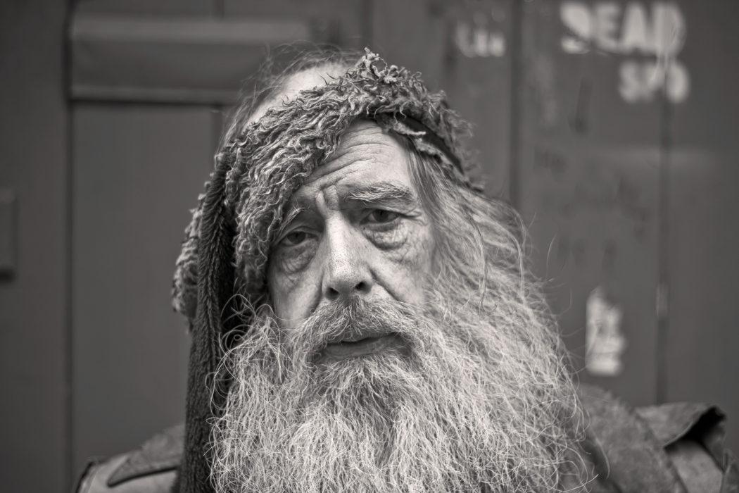 Hipster Old Man Modelling Fashion Week